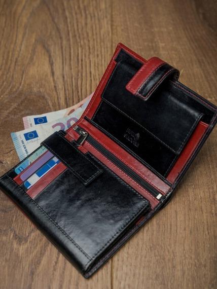 Portfel męski skórzany RFID Rovicky D104L-VT2 czarno-czerwony