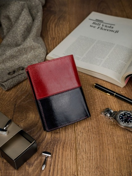 Portfel męski skórzany RFID Rovicky D1072-VT2 czarno-czerwony