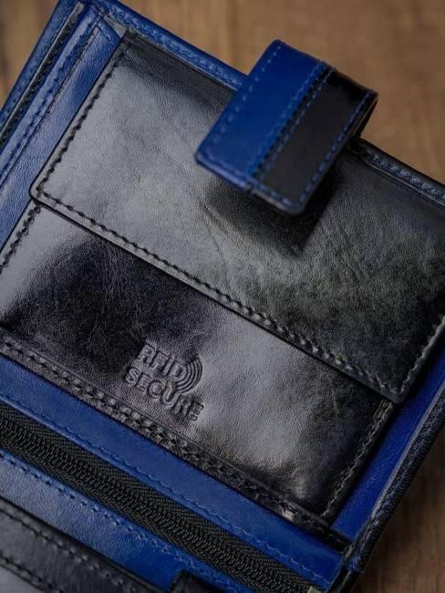 Portfel męski skórzany RFID Rovicky N4L-VT2 czarno-niebieski