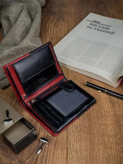 Portfel męskie skórzany RFID Rovicky N4-VT2 czarno-czerwony