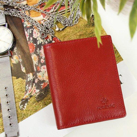 Portfel skórzany damski KRENIG Classic 12050 czerwony w pudełku