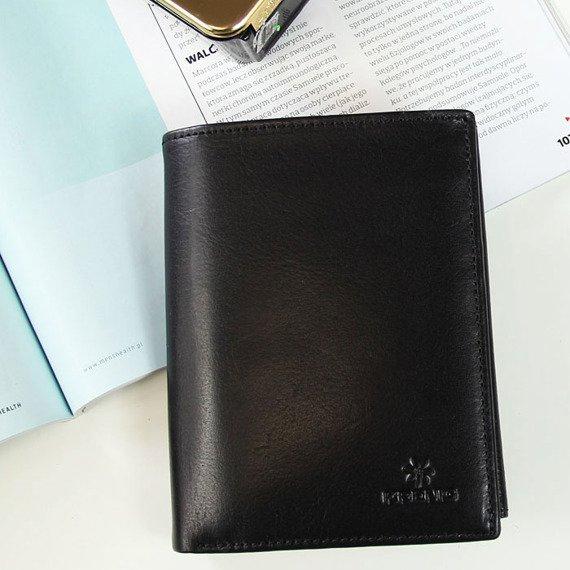 Portfel skórzany męski KRENIG Classic 12029 czarny w pudełku
