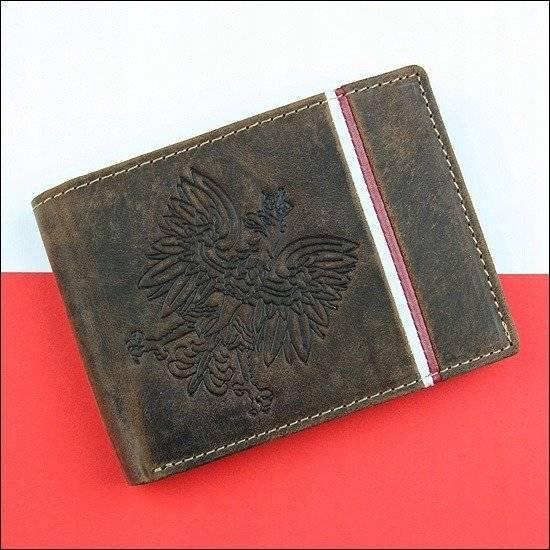 Portfel skórzany męski patriotyczny N992B-H brązowy