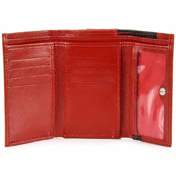 Portmonetka skórzana damska DAN-A P118 czerwono-czarna