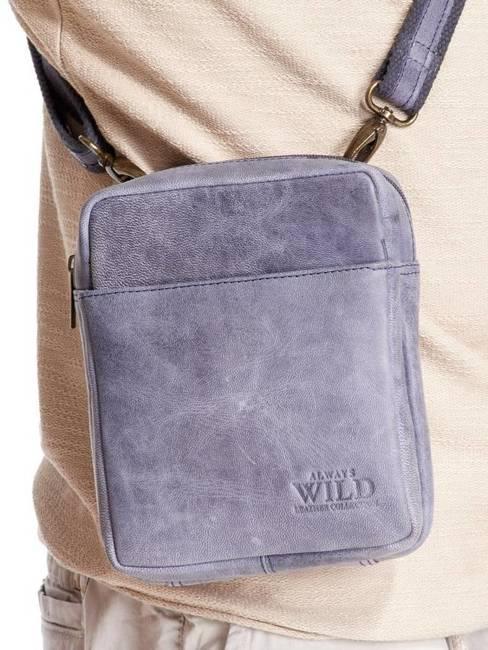 Saszetka skórzana torba na ramię Always Wild granatowa