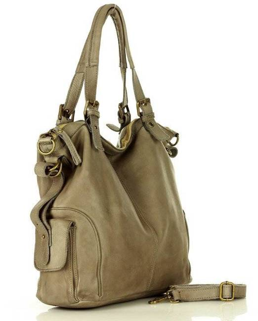 Shopper bag MARCO MAZZINI ciemny beż khaki v145d