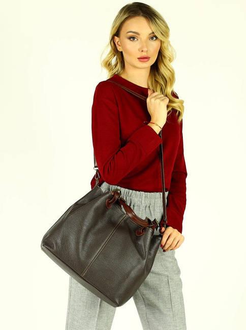 Shopper bag MARCO MAZZINI ciemny brąz caffe s268a