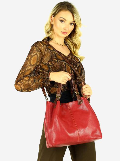 Shopper bag MARCO MAZZINI ciemny czerwony s268d