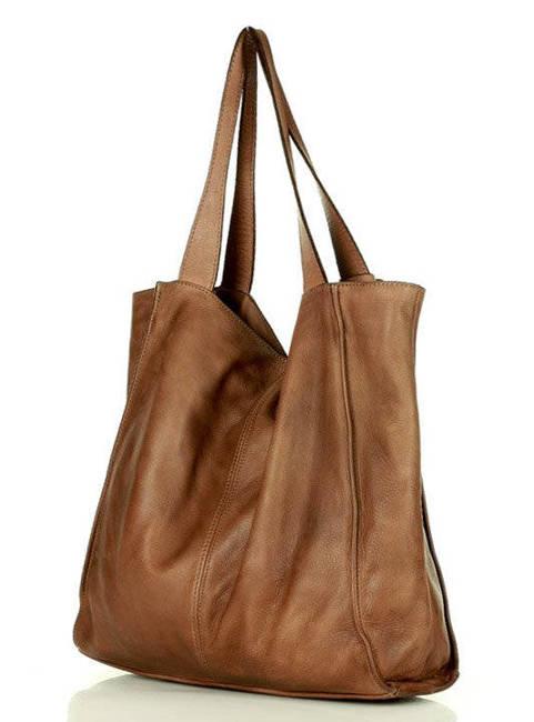 Shopper bag brązowy MAZZINI v102J