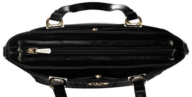 Shopper bag czarny tłoczony Monnari BAG2850-M20