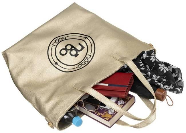 Shopper bag złoty Nobo NBAG-K3930-C023