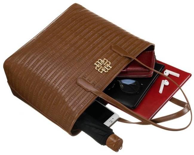 Shopper damski brązowy David Jones BAG1730-017