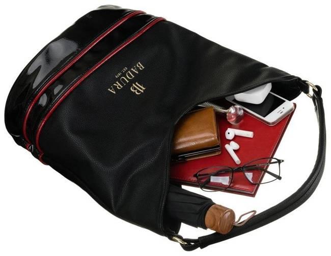 Shopper damski czarno-czerwony Badura T_D222CZ/CR_CD