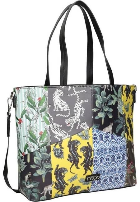 Shopper damski czarny print Nobo NBAG-K3970-CM02