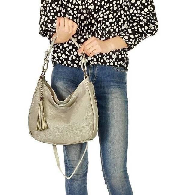 Shopper damski jasnoszara MARCO MAZZINI s226j
