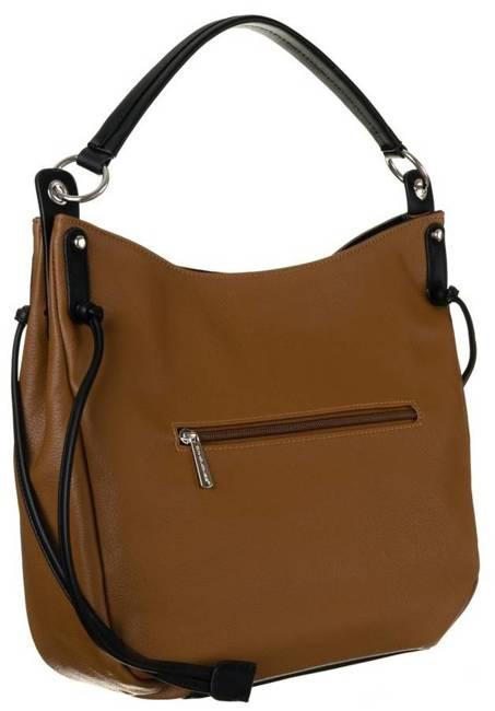 Shopper damski koniakowo-czarny David Jones CM6073 COGNAC