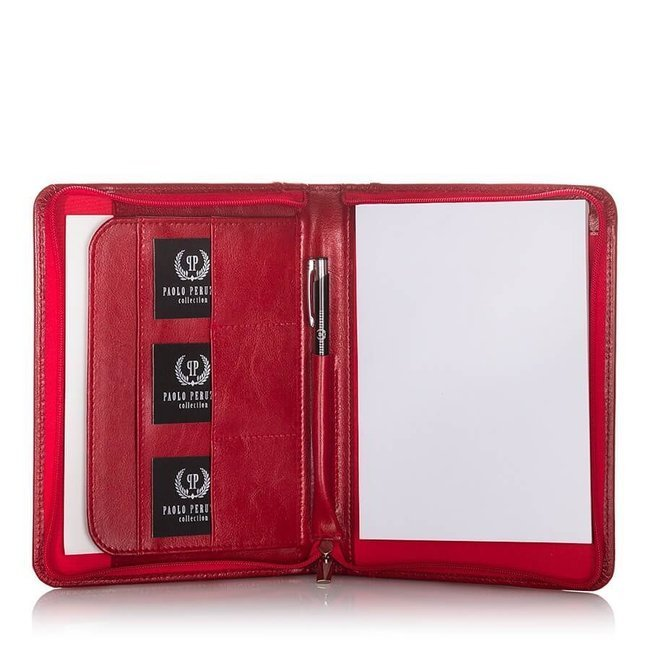 Skórzana aktówka biwuar na dokumenty A5 Paolo Peruzzi MR-04-RED czerwona