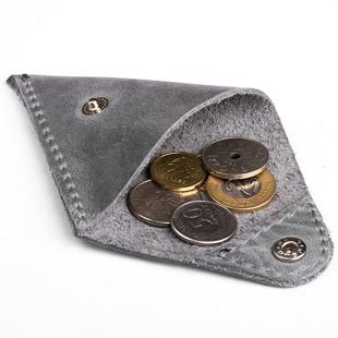 Skórzana bilonówka coin wallet BRODRENE CW01 szara
