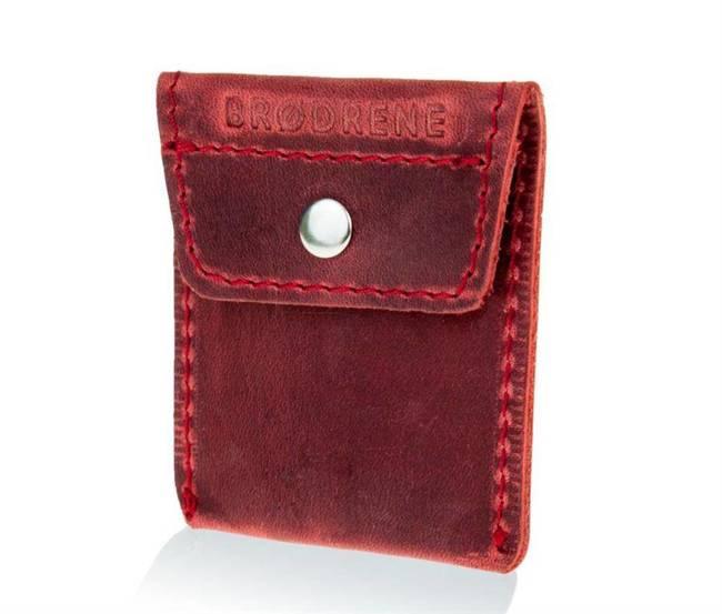 Skórzana bilonówka coin wallet BRODRENE CW02 czerwona