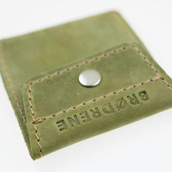 Skórzana bilonówka coin wallet BRODRENE CW02 zielona