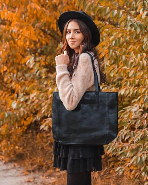 Skórzana czarna torebka DAN-A T395