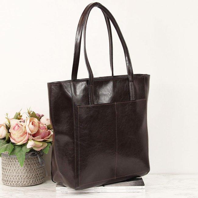 Skórzana czekoladowa torebka DAN-A T395