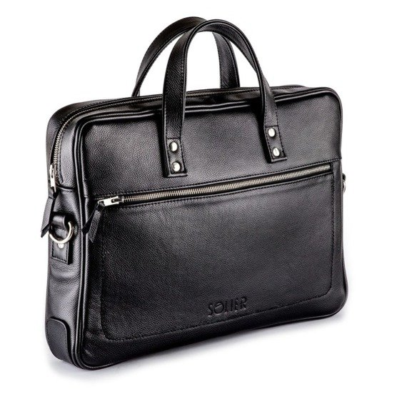 Skórzana męska torba na laptopa SOLIER czarna