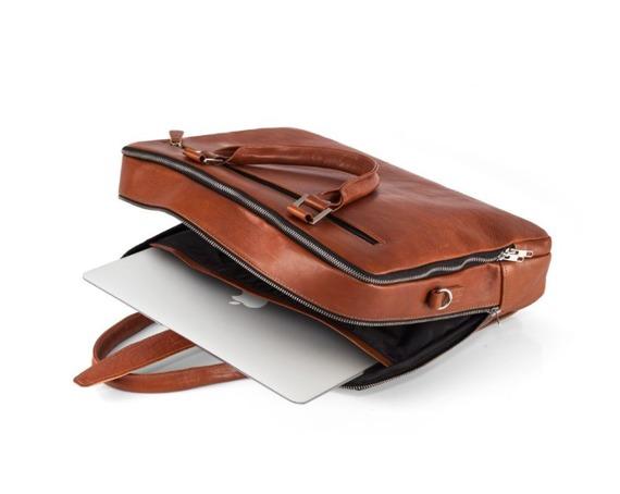 Skórzana męska torba na laptopa Solier SL24 Shannon brązowy vintage