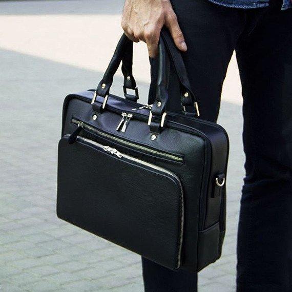 Skórzana męska torba na laptopa Solier SL24 Shannon ciemny brąz