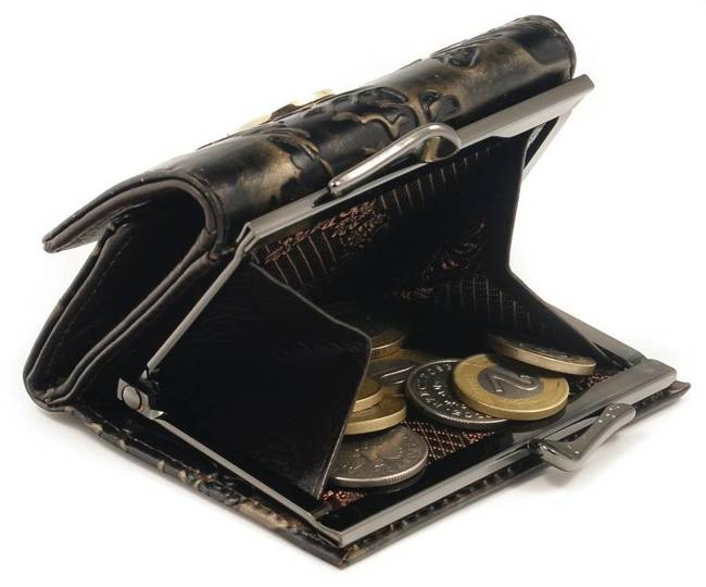 Skórzana portmonetka damska czarno - złota Forever Young 55287