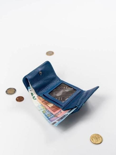 Skórzana portmonetka damska niebieski Lorenti 55287