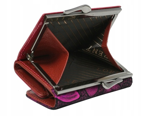 Skórzana portmonetka damska różowa Lorenti 55287