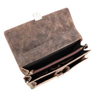 Skórzana teczka torba męska do ręki i na ramię GA85 brązowa