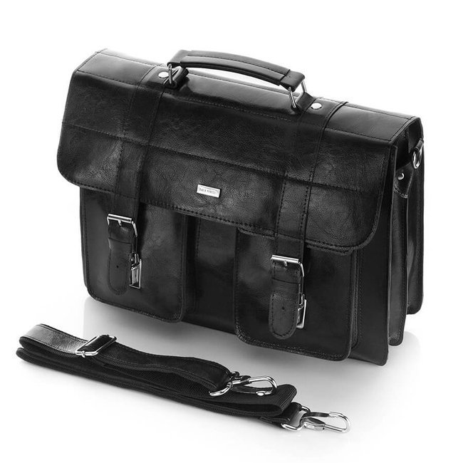 Skórzana teczka torba męska vintage czarna Paolo Peruzzi X-03-BL