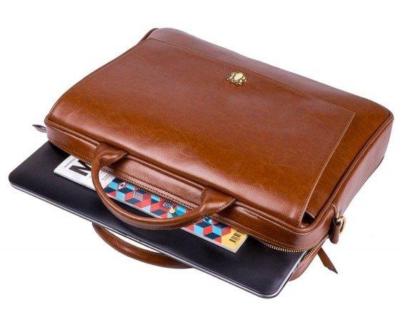 Skórzana torba aktówka damska na laptopa FELICE brązowa