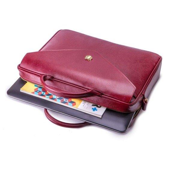 Skórzana torba aktówka damska na laptopa FELICE burgundowa