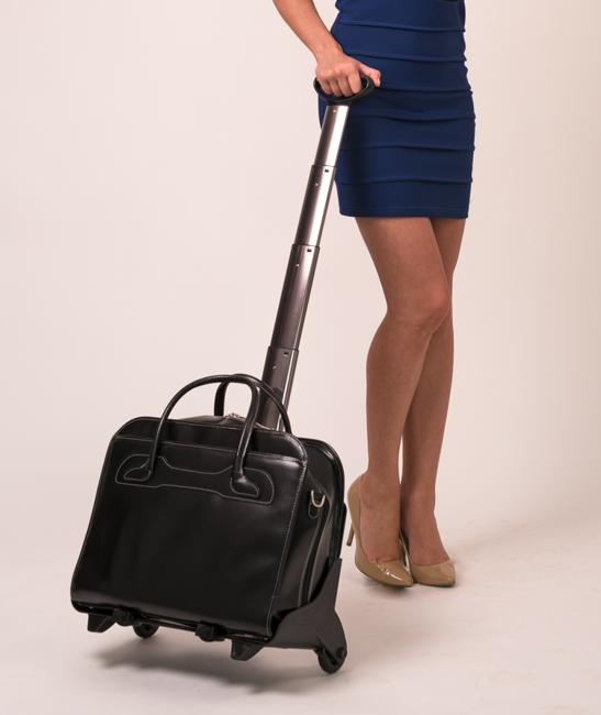 """Skórzana torba damska 17"""" na laptopa z odpinanym wózkiem Mcklein Willowbrook 94985 czarna"""