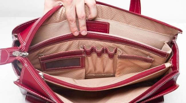 """Skórzana torba damska na laptopa 15,4"""" czerwona Mcklein Alexis 96546"""