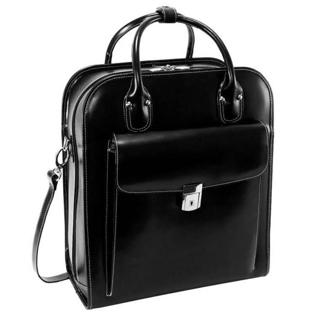 """Skórzana torba damska na laptopa 15,6"""" z odpinanym wózkiem Mcklein La Grange czarna"""