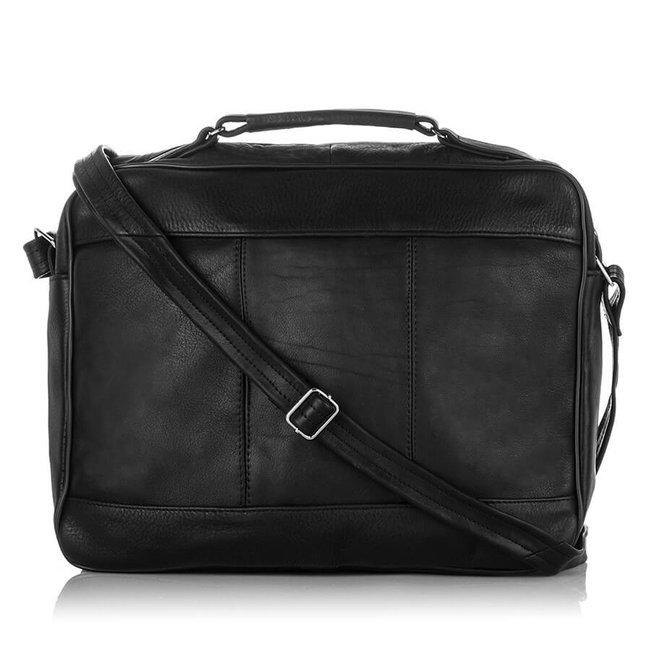 Skórzana torba męska do pracy czarna PAOLO PERUZZI B-11