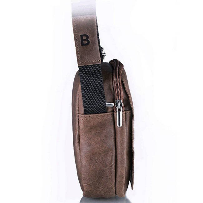 Skórzana torba męska listonoszka BRODRENE BL04 brązowa