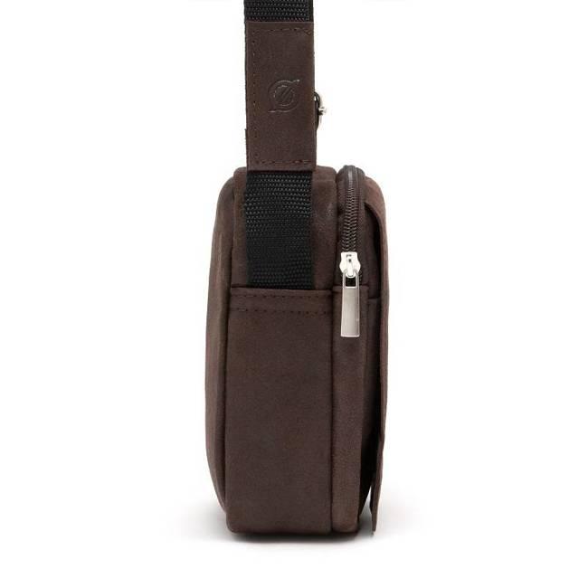 Skórzana torba męska listonoszka BRODRENE BL04 ciemnobrązowa