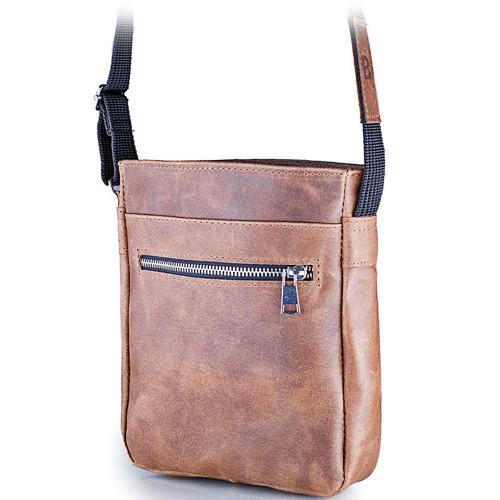 Skórzana torba męska listonoszka BRODRENE BL08 jasnobrązowa