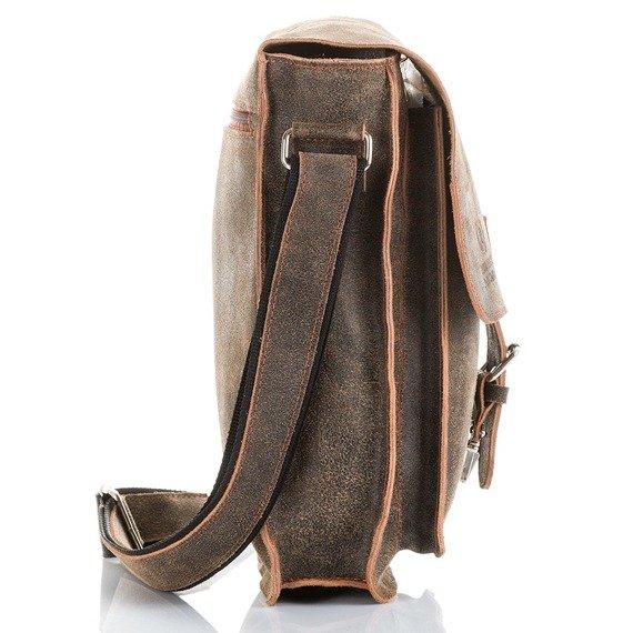 Skórzana torba męska listonoszka Paolo Peruzzi Adventure GA130 ciemnobrązowa