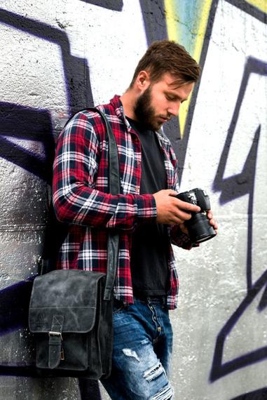 Skórzana torba męska listonoszka Paolo Peruzzi Adventure GA130 czarna