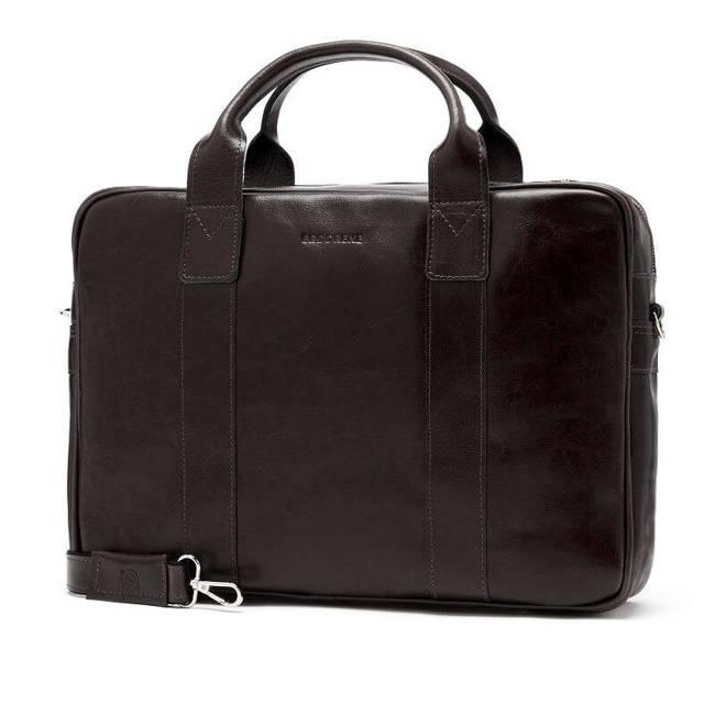 Skórzana torba męska na laptopa BRODRENE R01 ciemnobrązowa