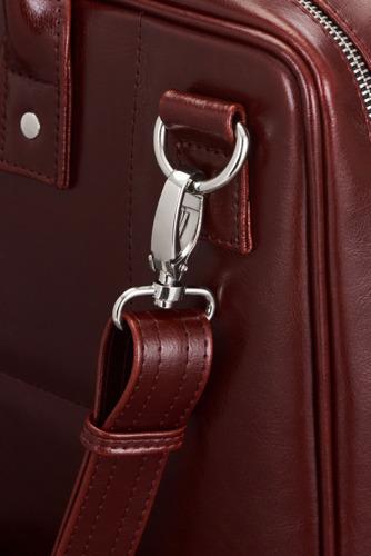 Skórzana torba męska na laptopa burgundowa SOLIER