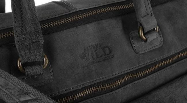 Skórzana torba męska na laptopa szara Badura LAP-15602-TGH-7441 B