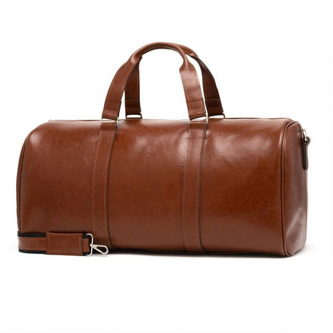 Skórzana torba męska podróżna BRODRENE BL20 koniakowa