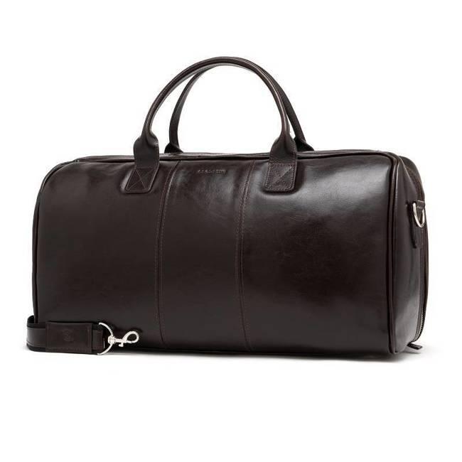 Skórzana torba męska podróżna BRODRENE R10 ciemnobrązowa